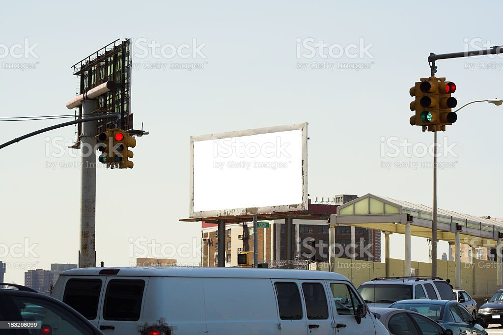 Billboards Among Traffic stock photo