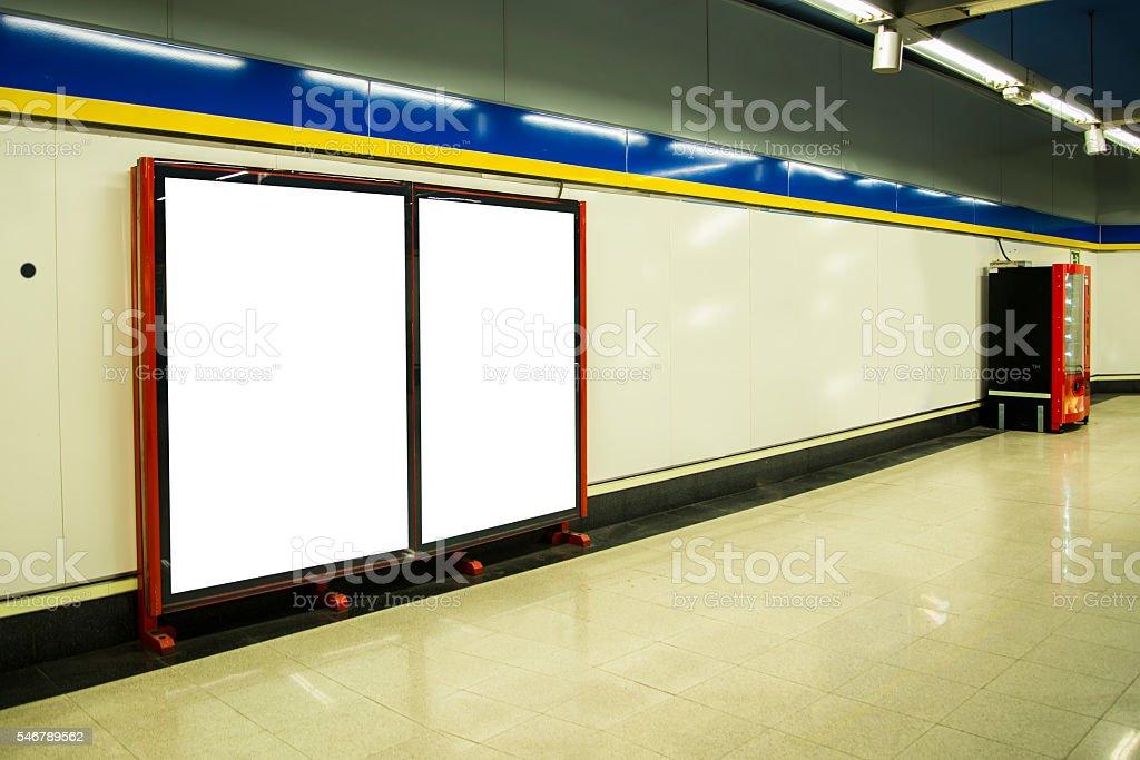 Billboards at subway station stock photo