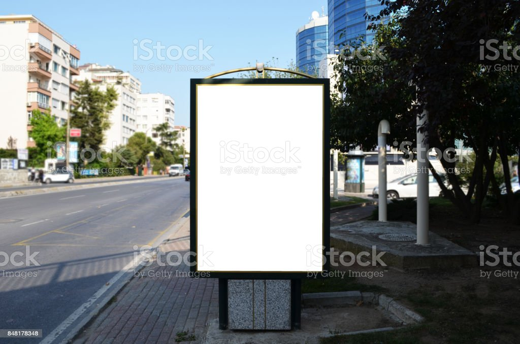 billboards with white photograph at city street stock photo