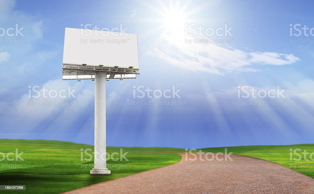 billbroad pole on green field use for multipurpose royalty-free stock photo
