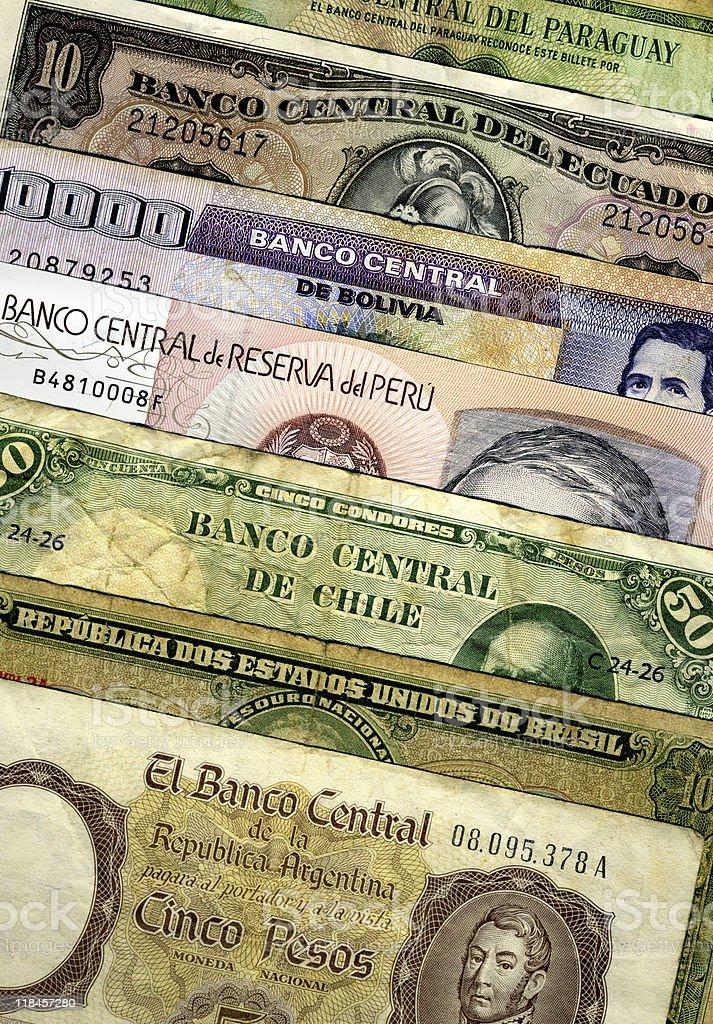 Billetes latinoamericanos stock photo