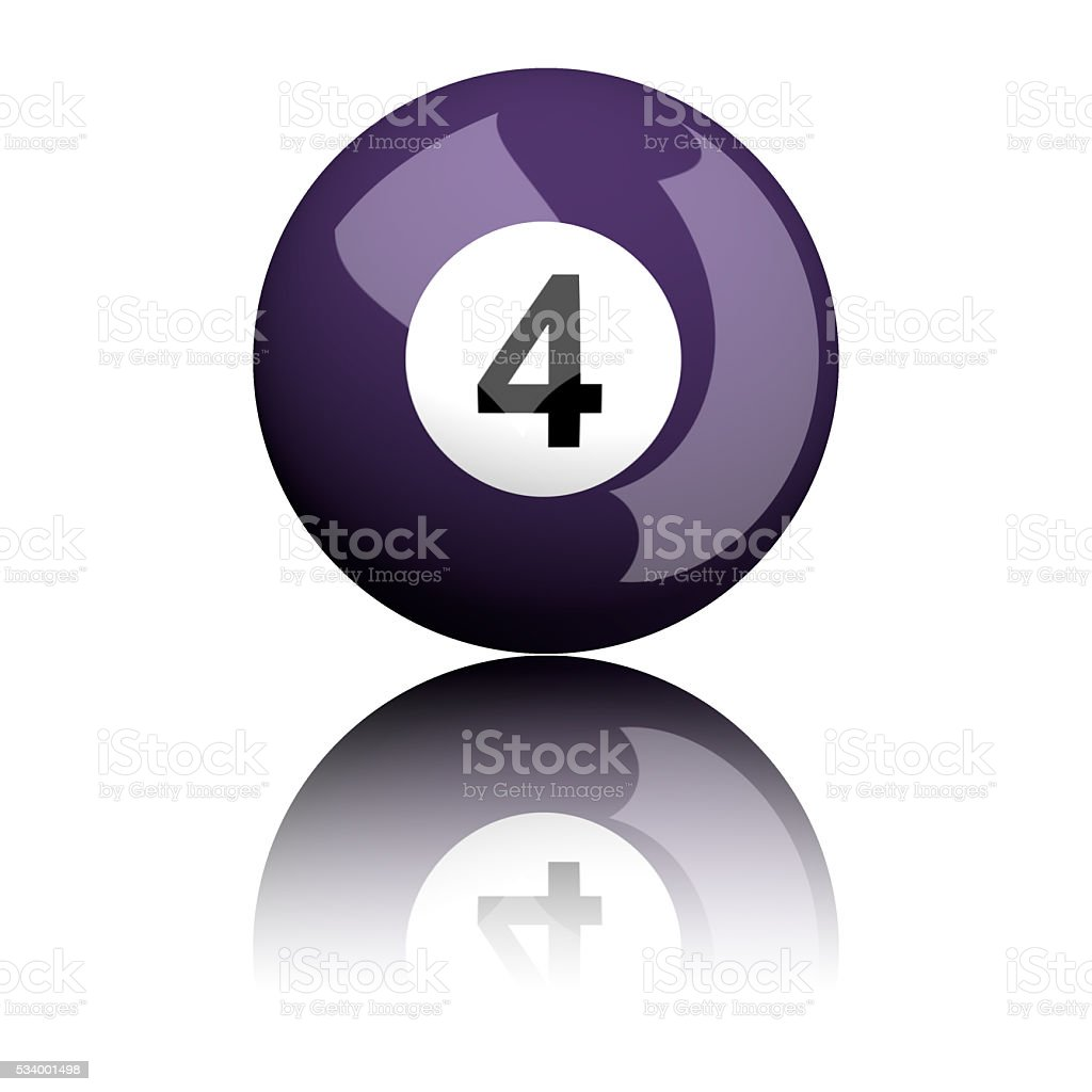 Billiard Ball Number 4 3D Rendering stock photo