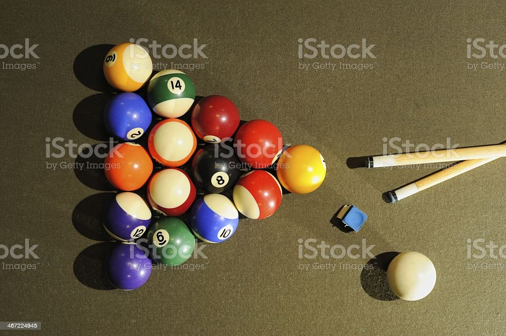 Billiard ball rack with cue ball and chalk stock photo