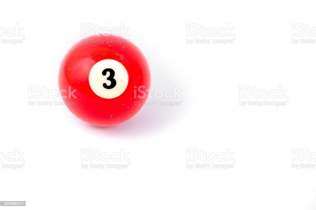 Billiard ball three isolated on a white background stock photo