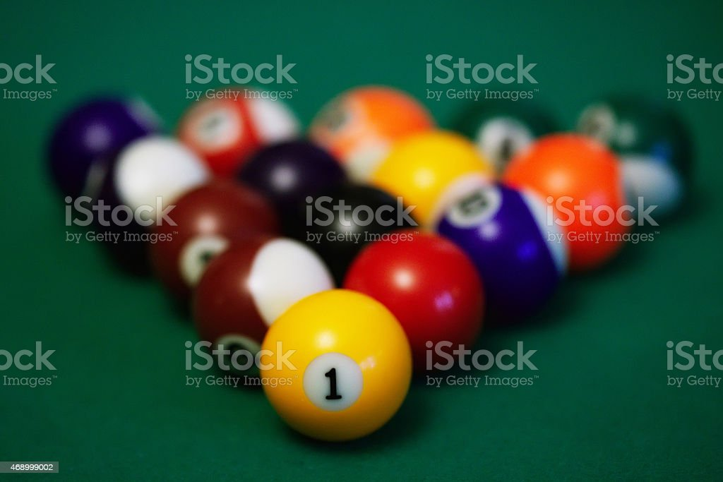Billiard balls closeup stock photo