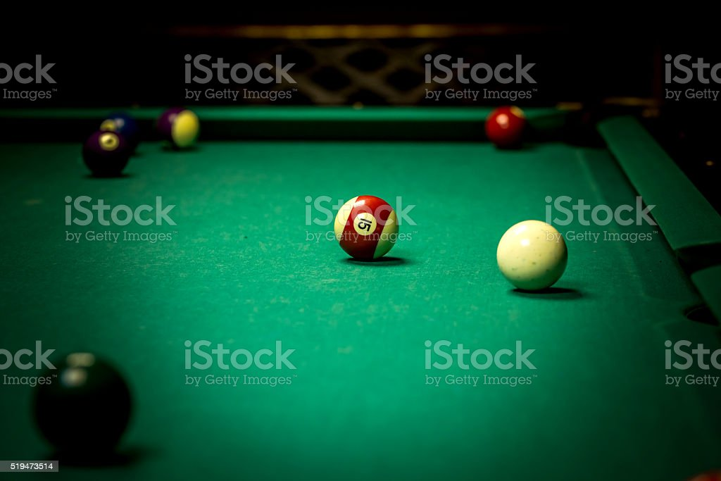 Billiard balls in pool table stock photo
