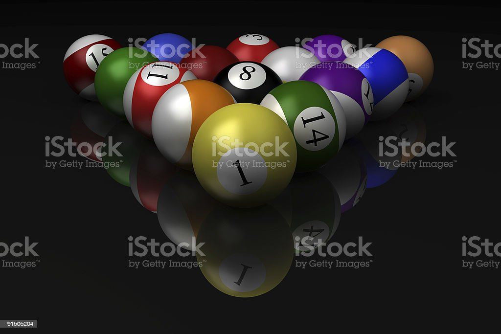 billiard balls isolated on black background with reflection royalty-free stock photo