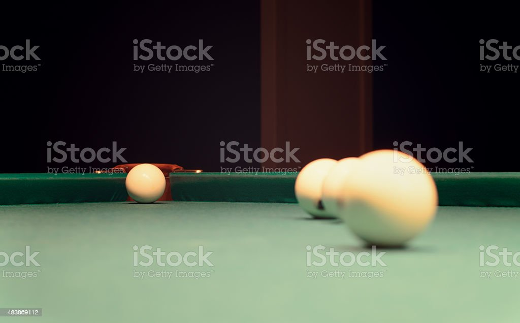 Billiard Balls on Top of Pool Table stock photo