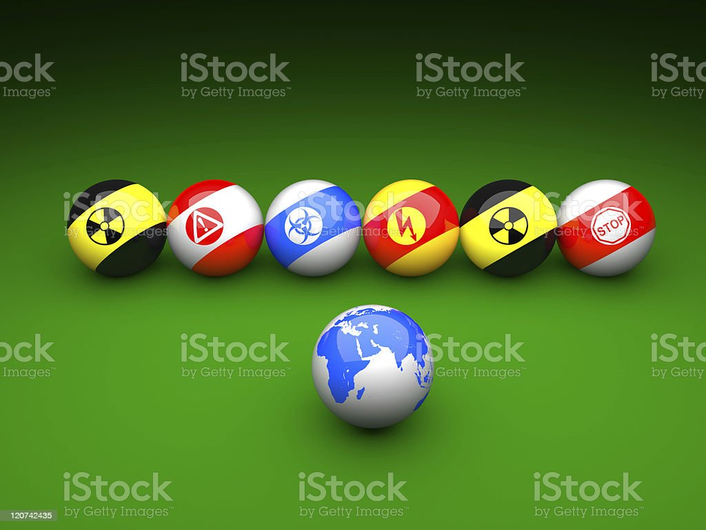 Billiard balls with danger signs stock photo