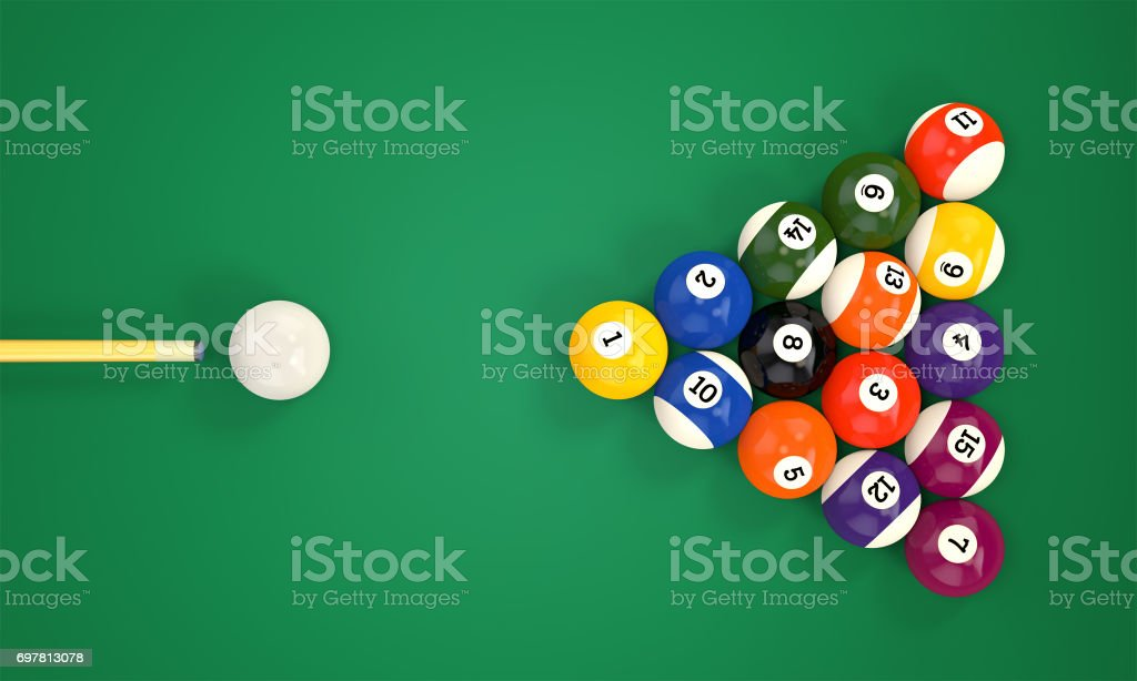 Billiard cue and pool balls stock photo