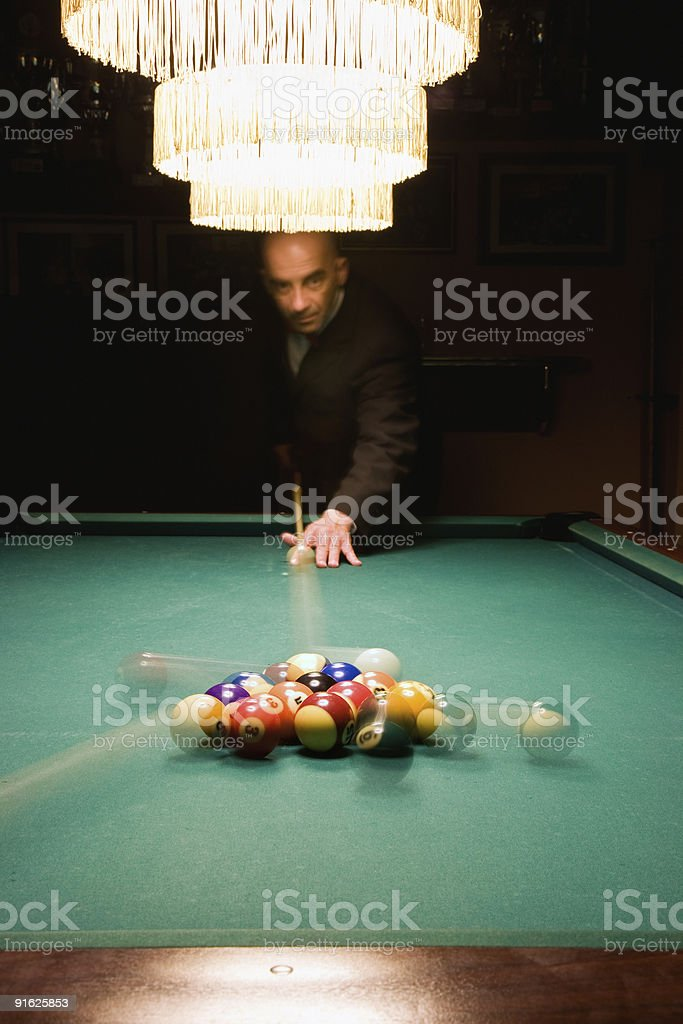 Billiard game detail stock photo