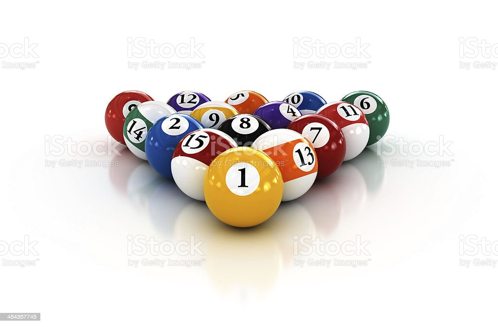 Billiard pool numbered balls arranged in a triangle shape stock photo