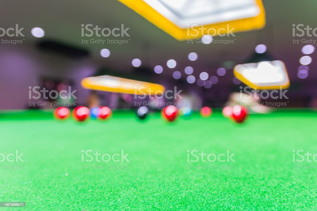 billiard room blurred background stock photo