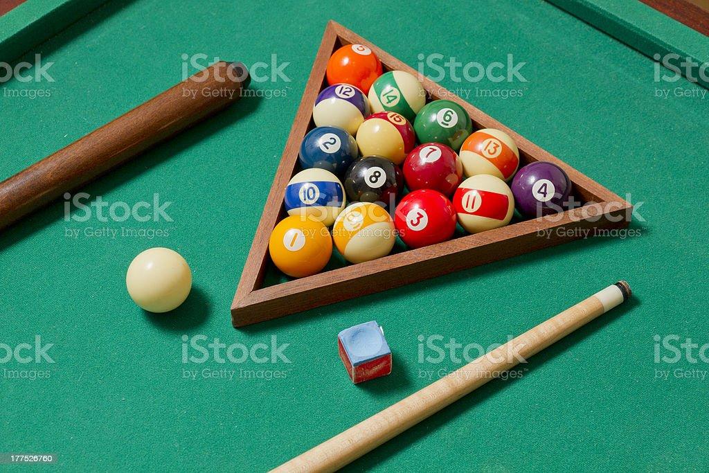 Billiard set on green royalty-free stock photo