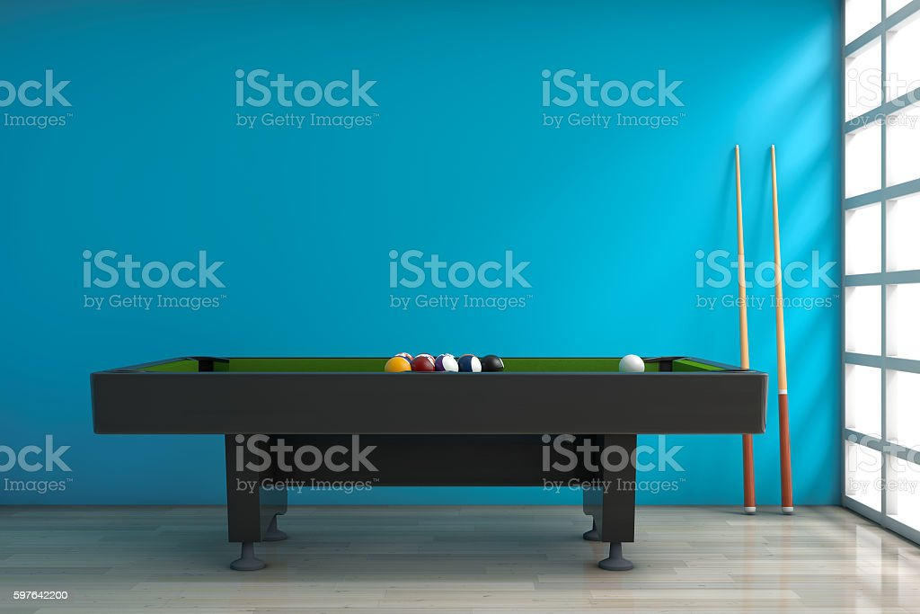 Billiard Table with Balls Set and Cue. 3d Rendering stock photo