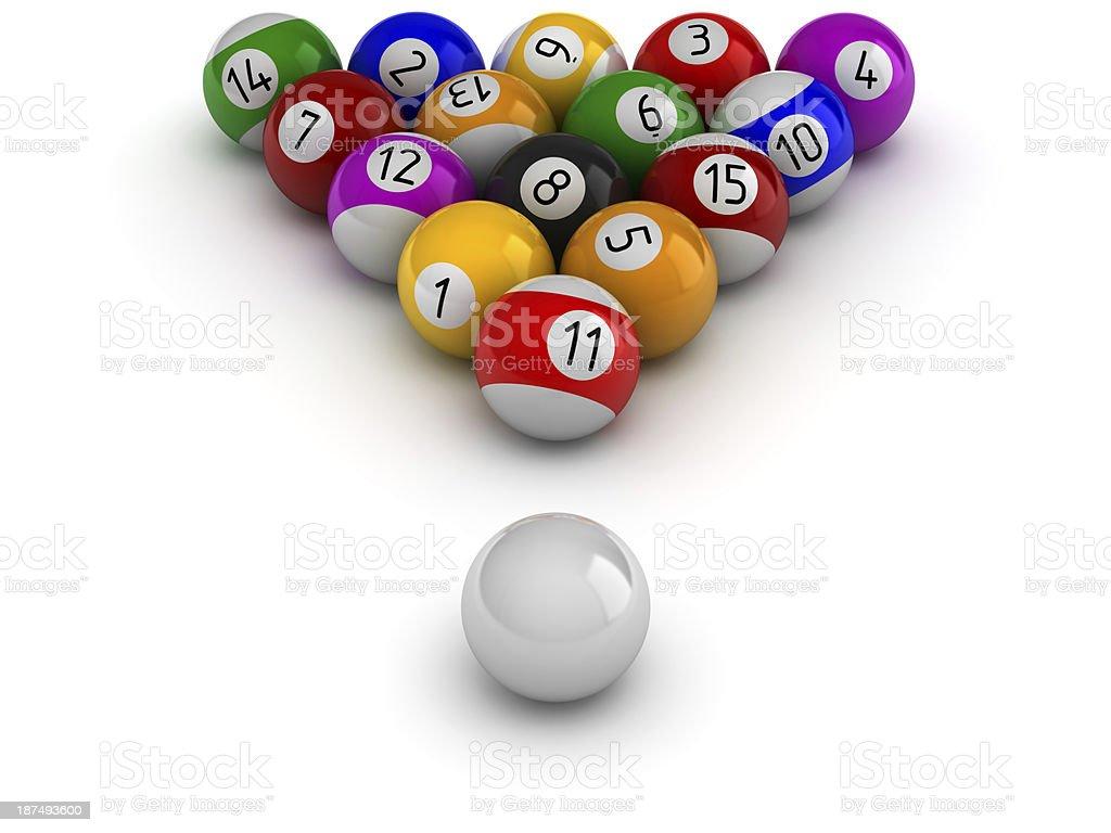 Billiards balls with cue ball stock photo