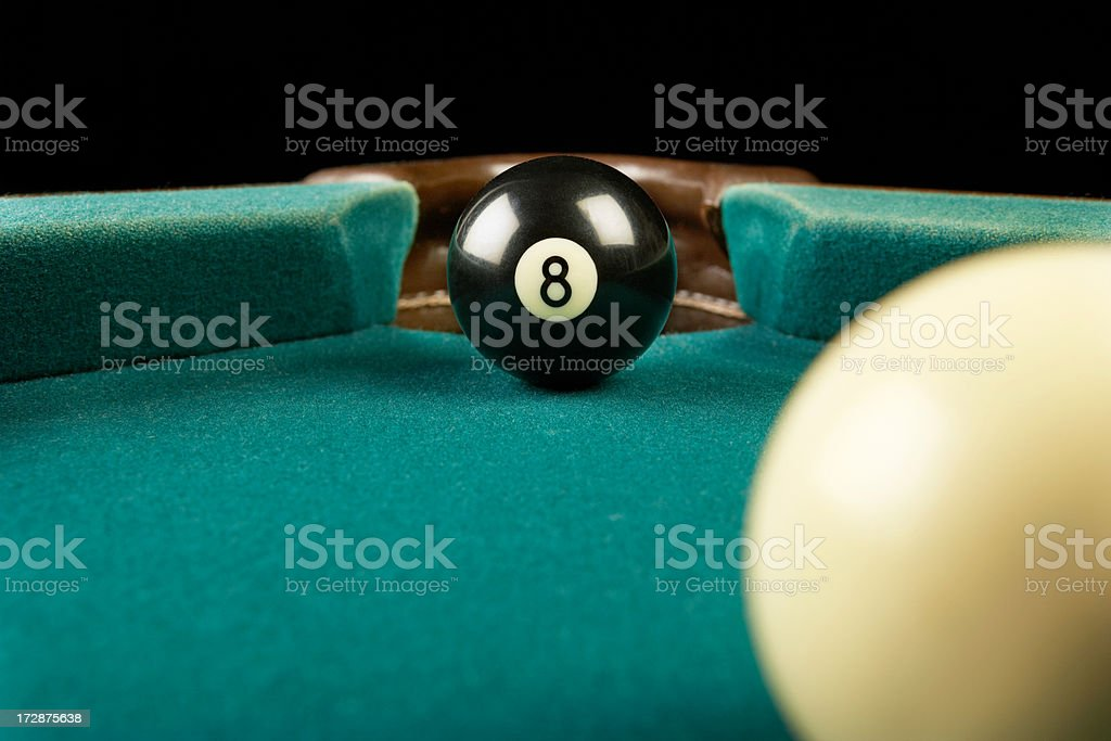 Billiards eight ball corner pocket stock photo