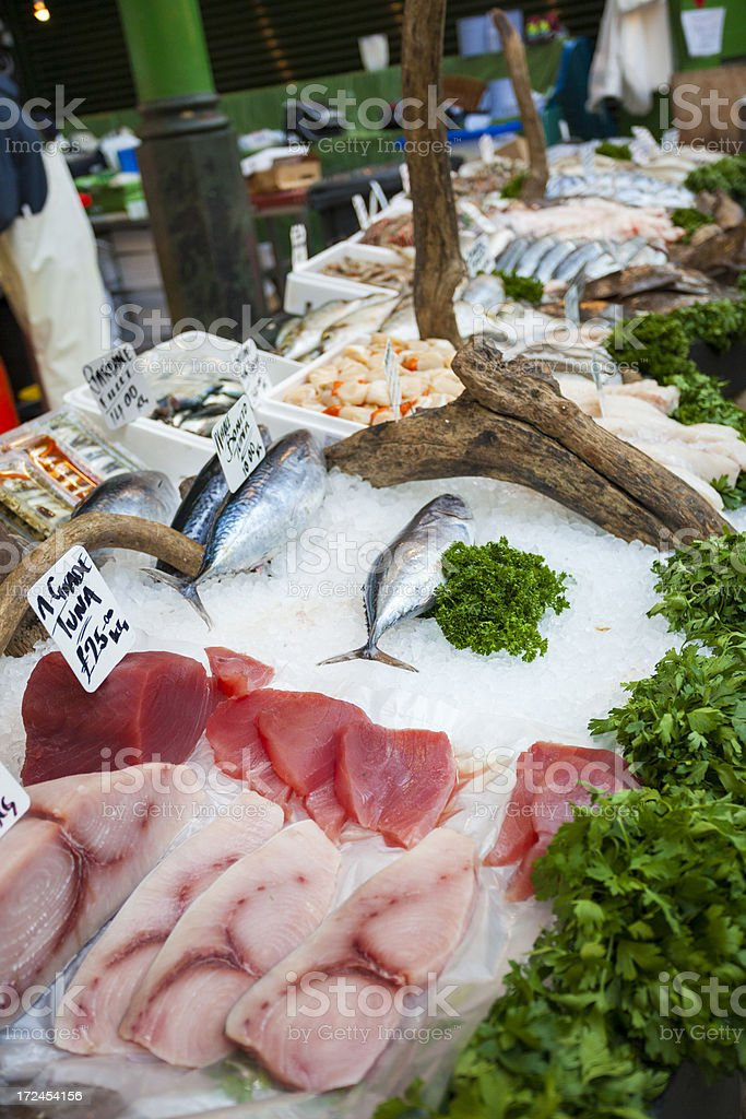 Billingsgate Market fish on sale, London stock photo
