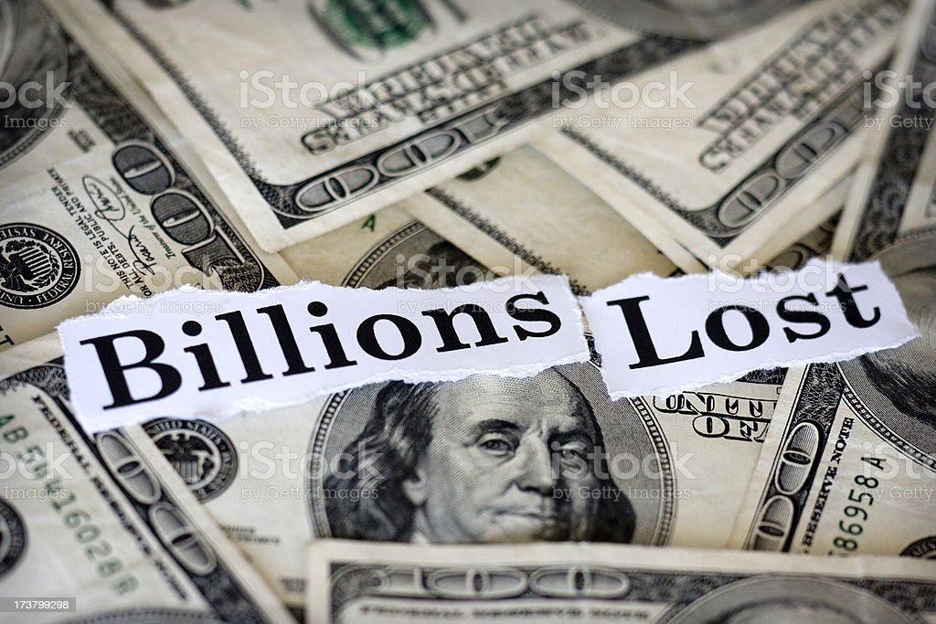billions lost royalty-free stock photo