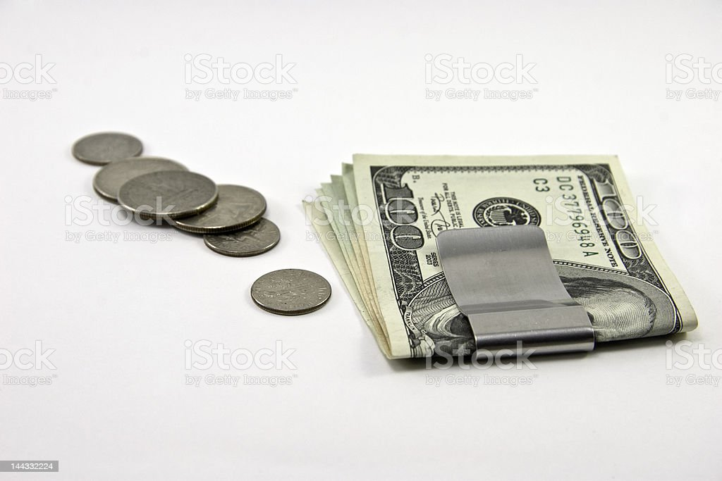Bills and coins stock photo