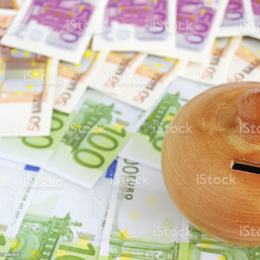 bills and moneybox royalty-free stock photo