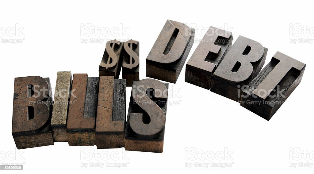 Bills & Debt Signs royalty-free stock photo