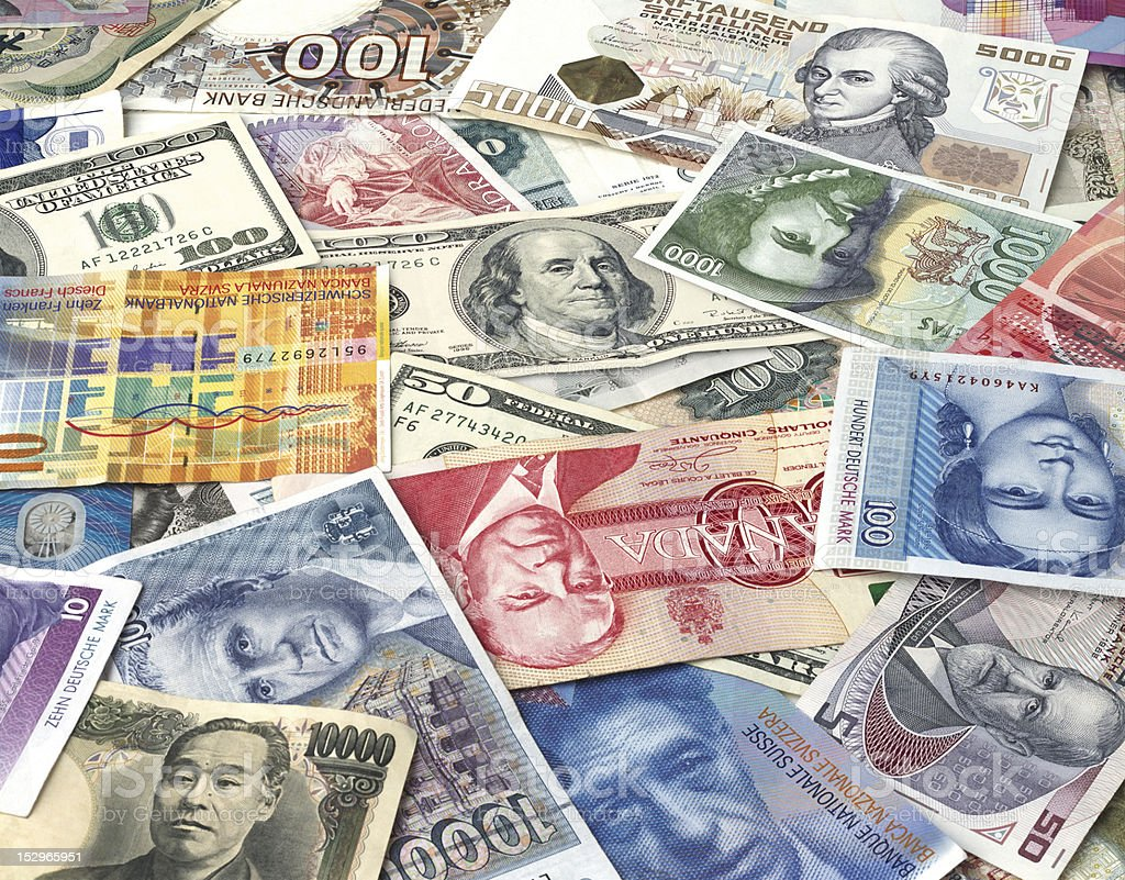 Bills of different countries stock photo