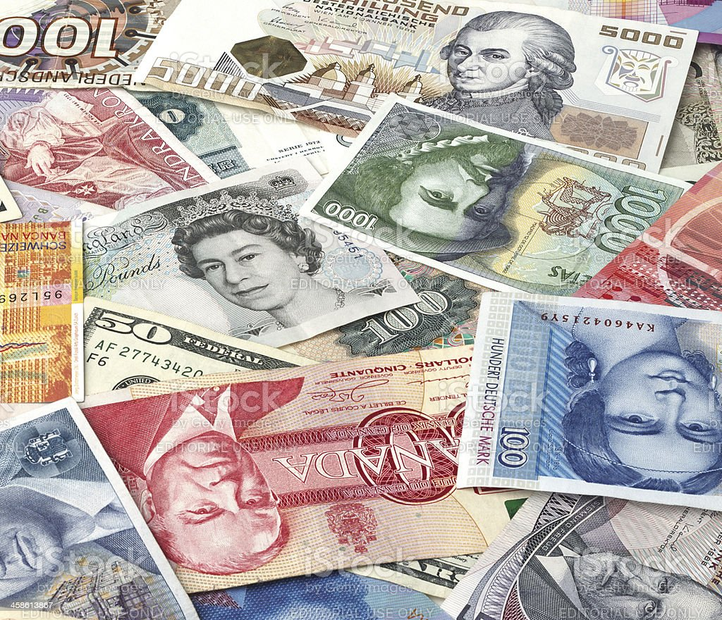 Bills of different countries royalty-free stock photo