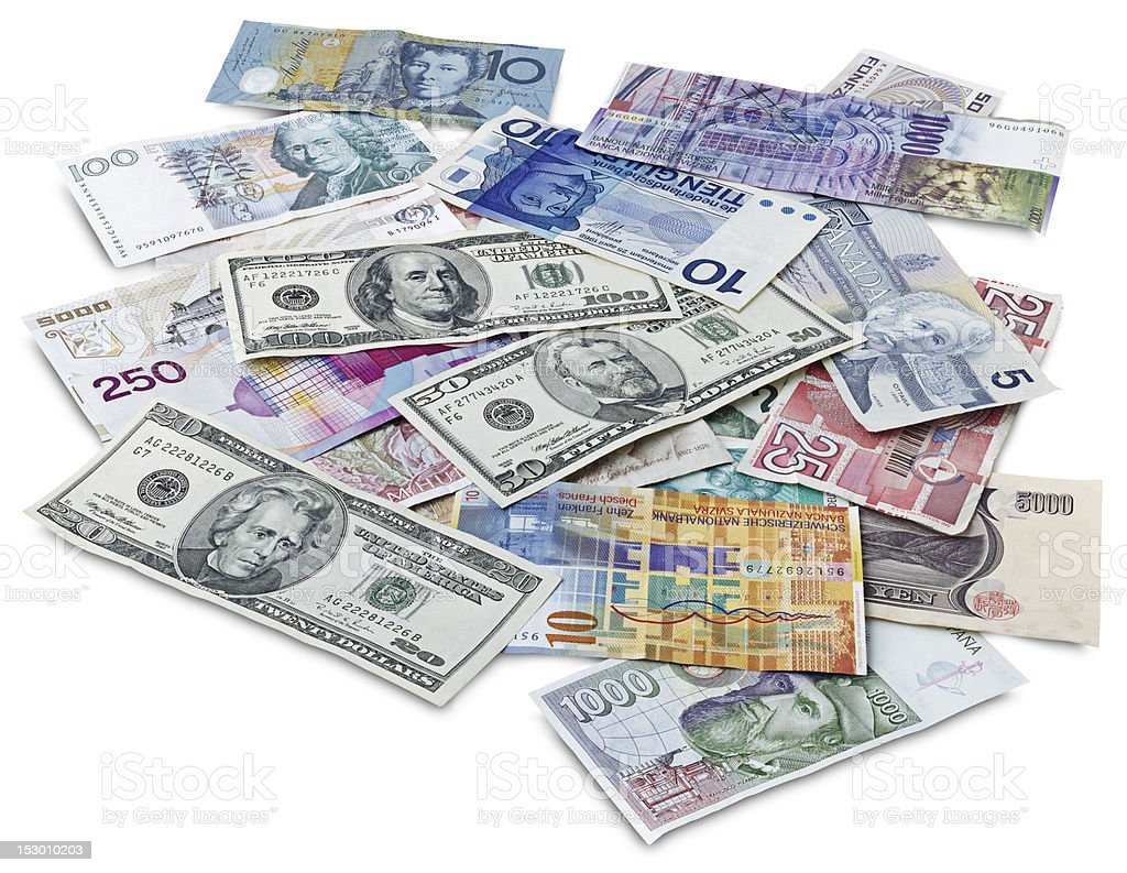 Bills of different countries with clipping path royalty-free stock photo