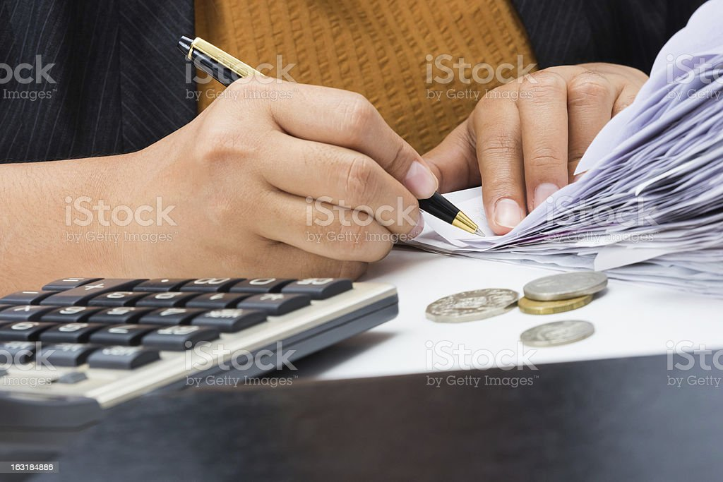Bills to calculate royalty-free stock photo