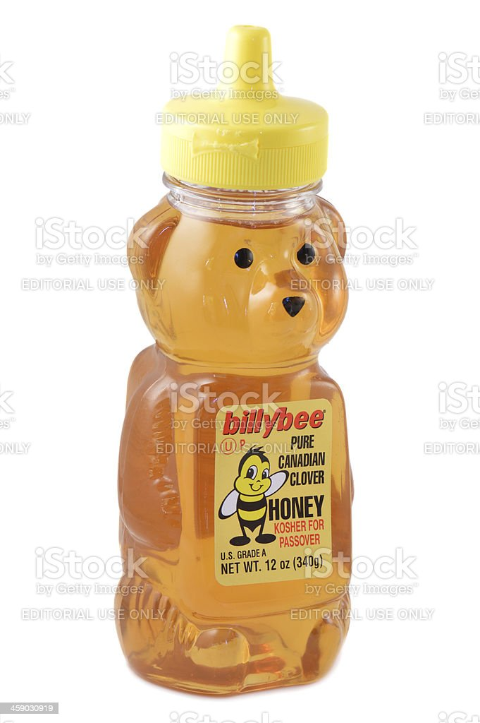 Billybee Pure Canadian Clover Honey Bottle stock photo