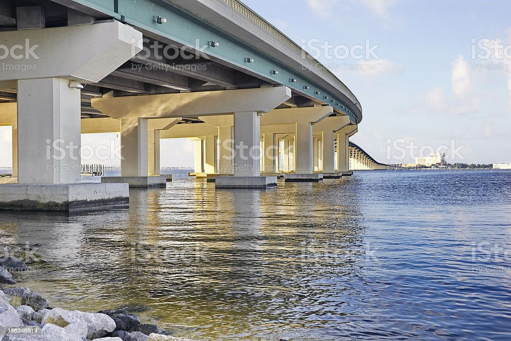 Biloxi Bay Bridge from below stock photo