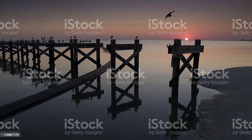 Biloxi Sunset and Pier stock photo