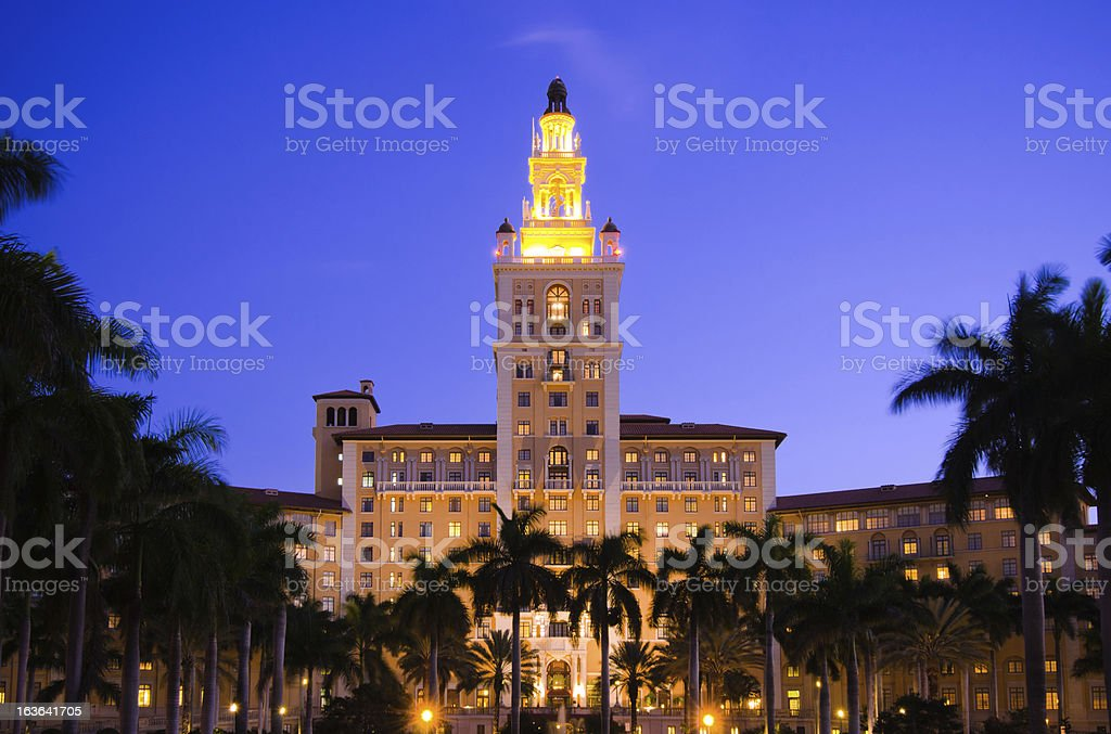 Biltmore Hotel in Coral Gables, FL at night stock photo