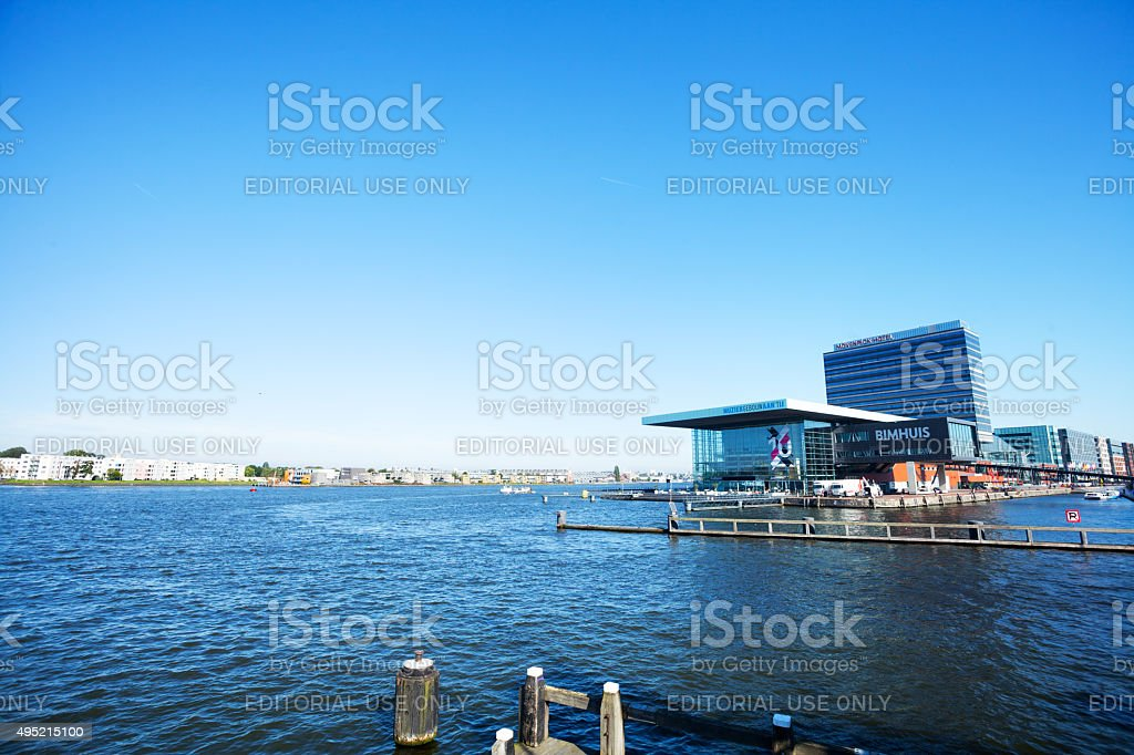 Bimhuis and ferry harbor of Amsterdam stock photo