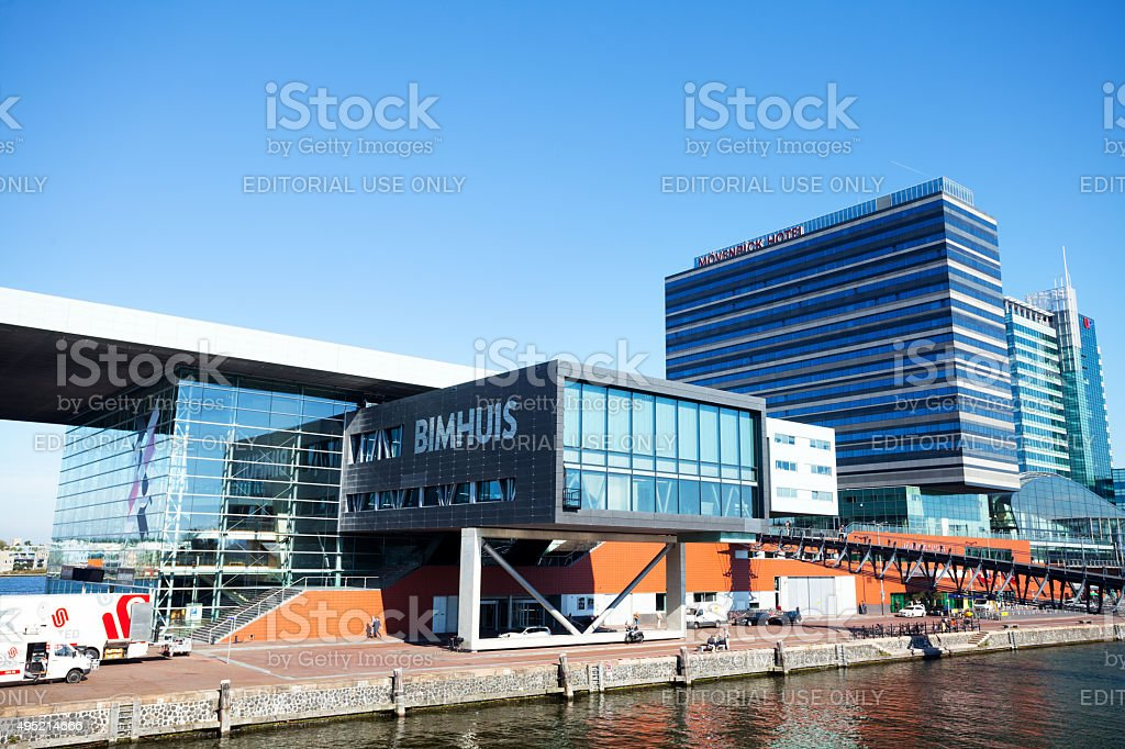 Bimhuis and Mövenpick hotel in Amsterdam stock photo