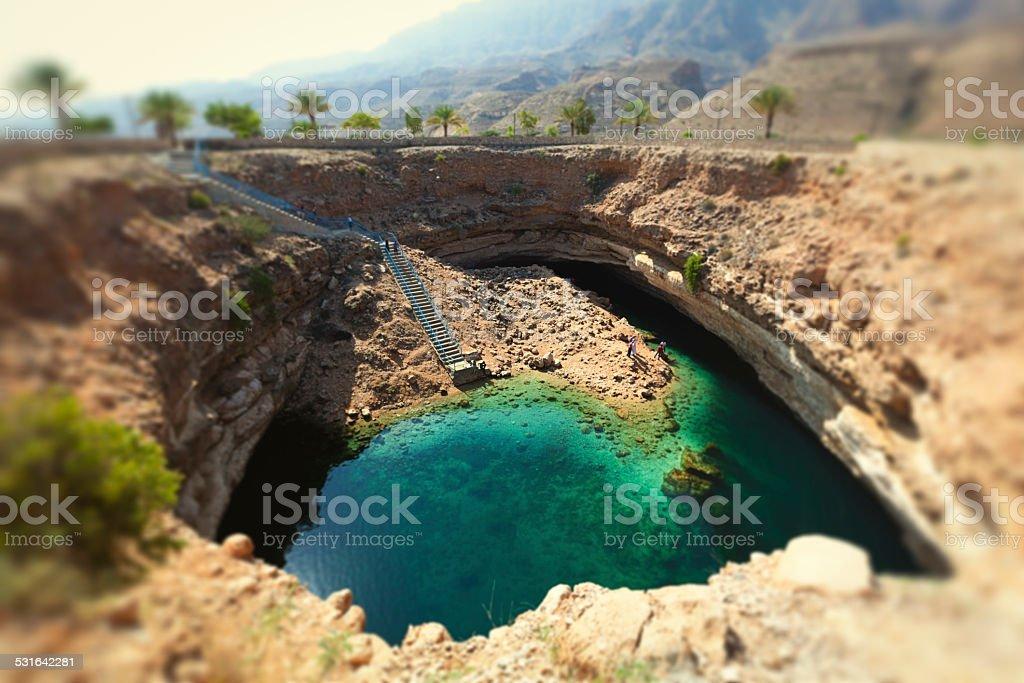 bimmah hawiyat najm sinkhole, oman stock photo