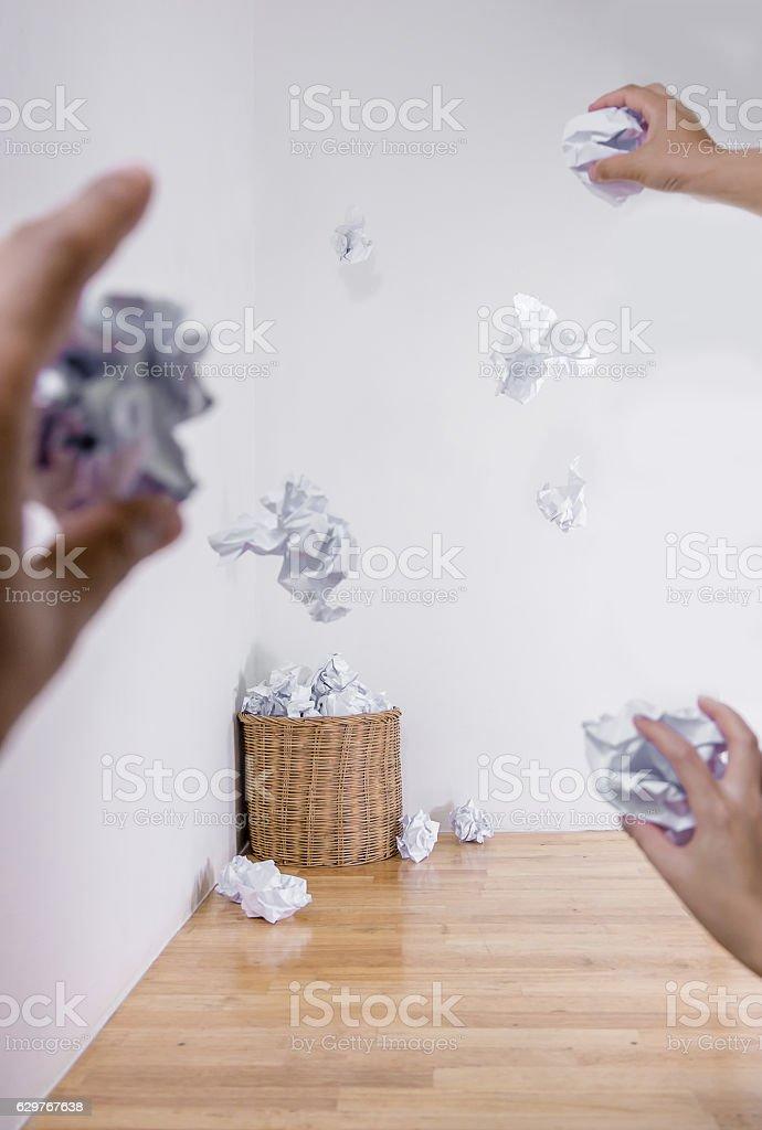 bin Littering fully Wicker trash stock photo