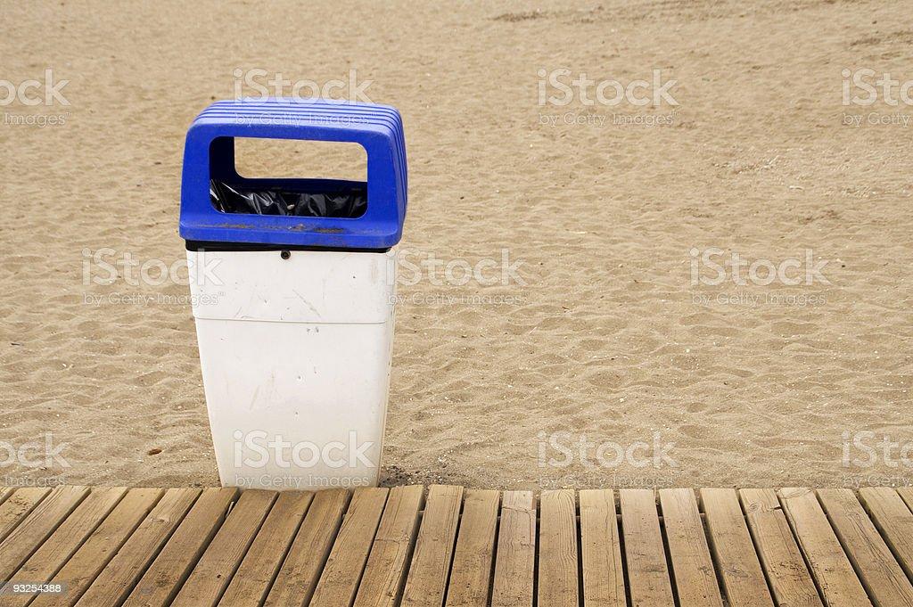 Bin on the beach royalty-free stock photo
