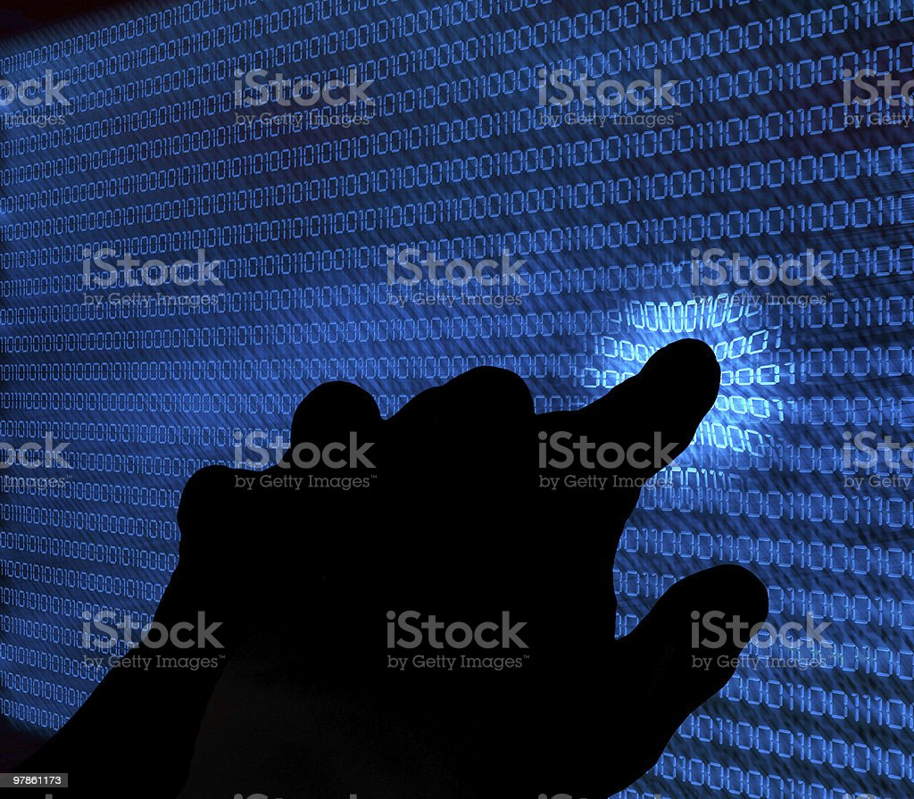 binary background and hand royalty-free stock photo