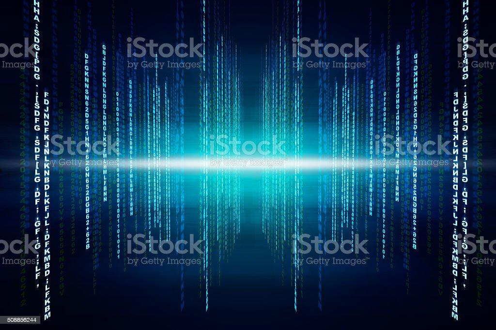 Binary blue computer code stock photo