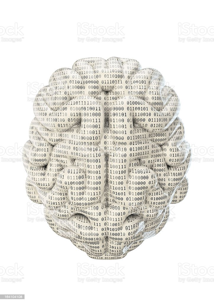 Binary brain royalty-free stock photo