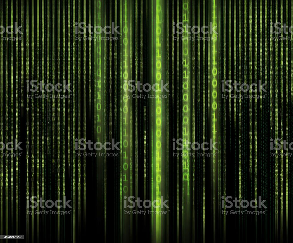 binary code and matrix style letters. stock photo