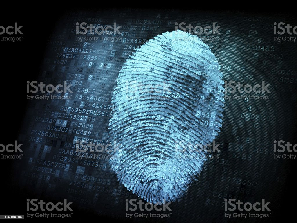 Binary code behind a blue digital fingerprint stock photo