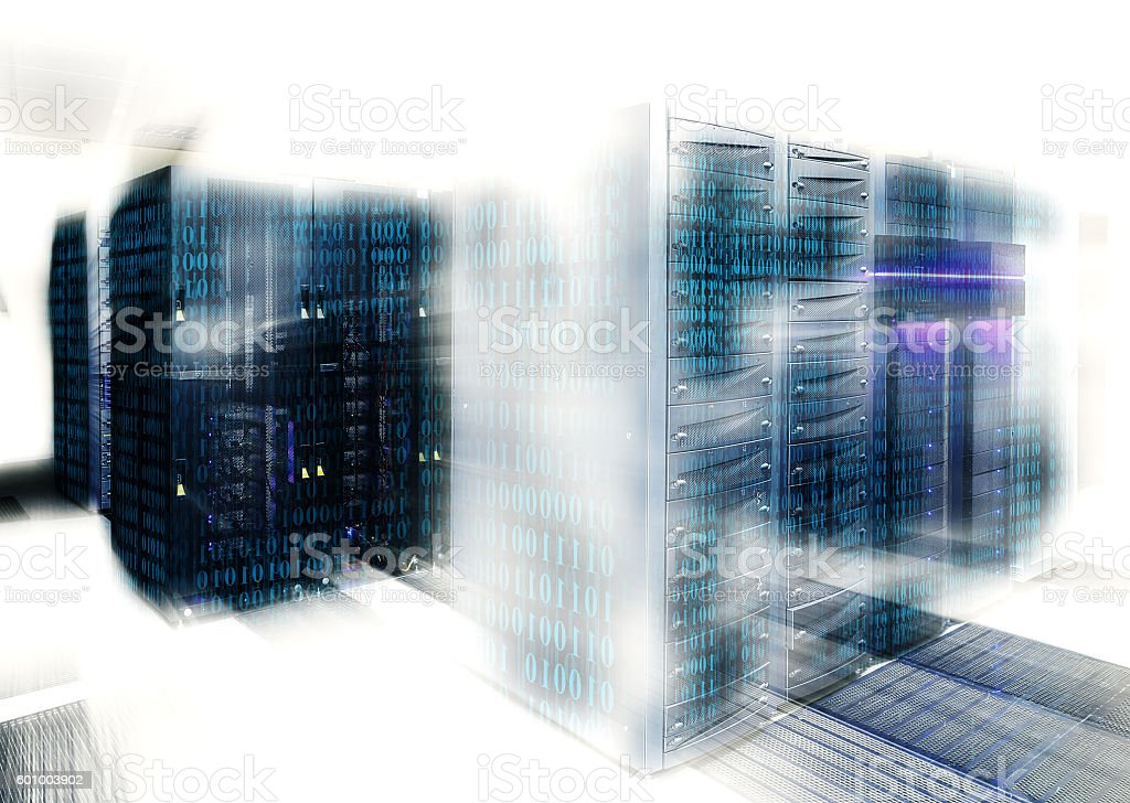 binary code covers portion of mainframe in data center stock photo