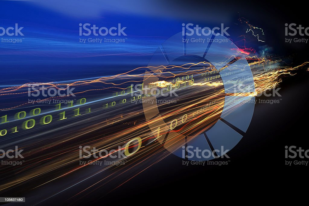 Binary code data simulating a freeway royalty-free stock photo