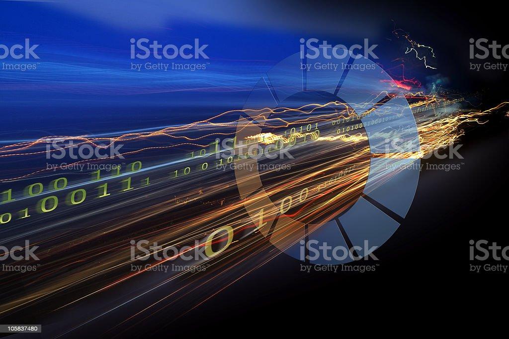 Binary code data simulating a freeway stock photo