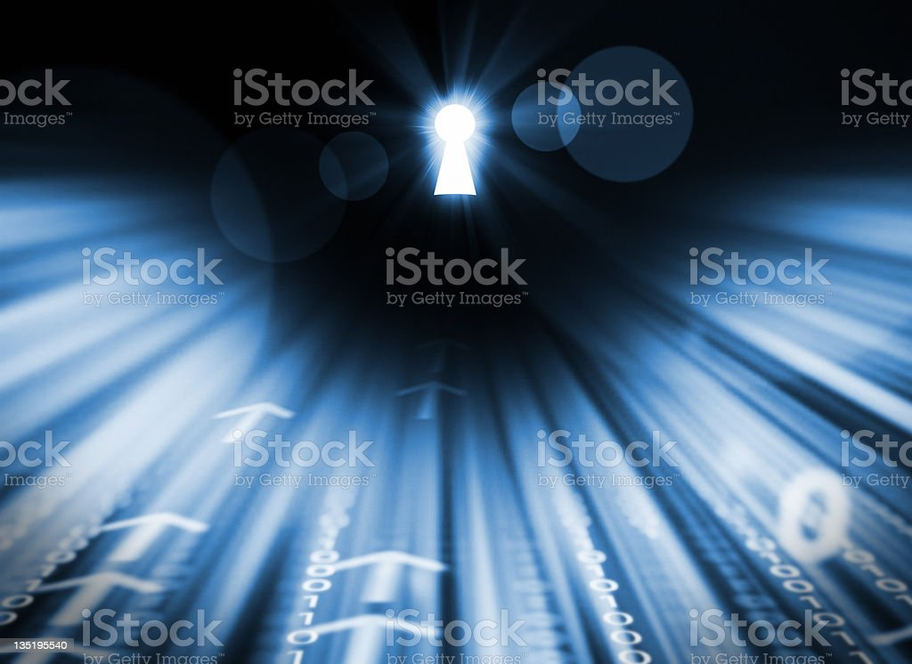 binary code goes to target royalty-free stock photo