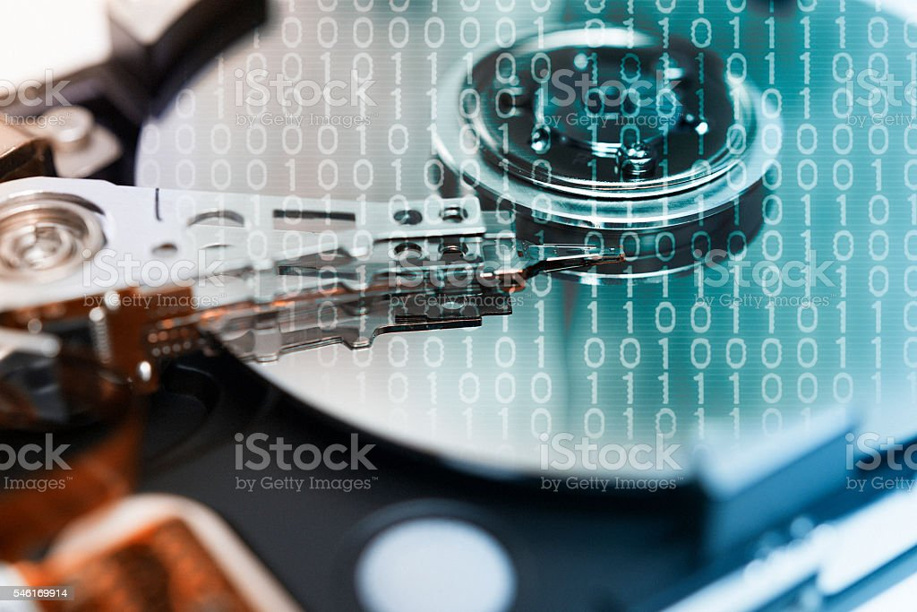 Binary Code Hard Drive stock photo