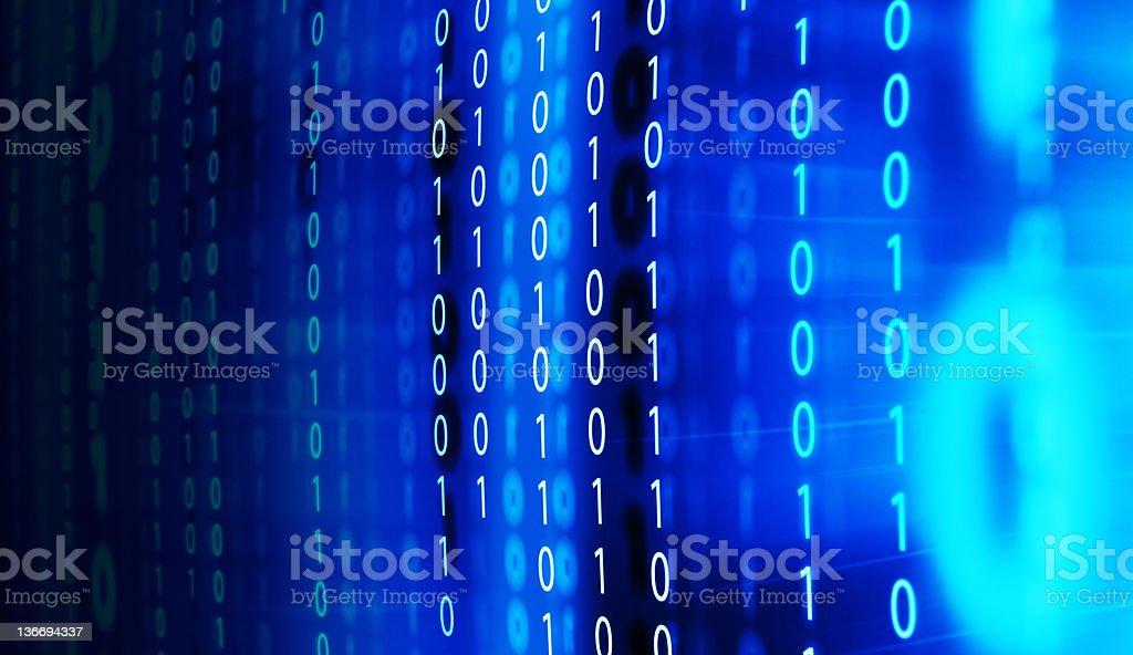 binary code on monitor screen stock photo